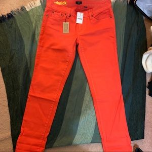 JCrew red orange skinny toothpick jeans